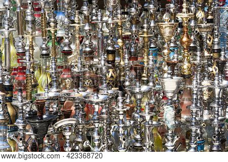 Many Different Hookahs Of Large And Small Sizes Made Of Glass On The Market In Egypt. Sale Of Hookah