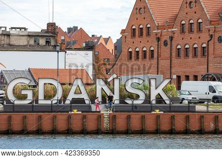 Gdansk, Poland - Sept 9, 2020: The Inscription Gdansk In White And Red Colors On Olowianka Island N