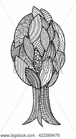 Doodle Surreal Fantasy Soft Round Tree Coloring Page For Adults. Fantastic Psychedelic Graphic Artwo