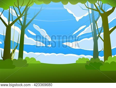 Forest Trees Vector. Dense Wild Plants With Tall, Branched Trunks. Sky With Clouds. Summer Green Lan