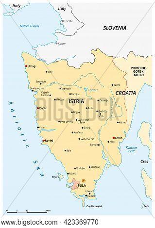 Vector Map Of The Croatian Peninsula Istria, Croatia