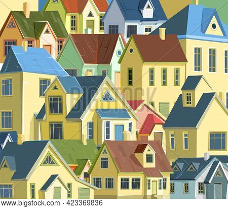 Roofs Of Houses. A Village Or A Small Rural Town. Small Houses.small Cozy Suburban Cottages With Win
