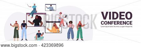 Mix Race People Chatting During Video Call With Friends In Web Browser Windows Online Conference Vir