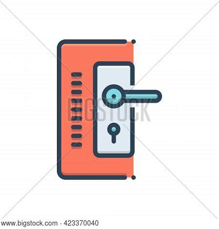 Color Illustration Icon For Doorlock Hasp Swivel Stirrup Threshold Doorway