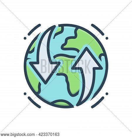 Color Illustration Icon For Earthmoving Global Planet Universe Soil Unformed Rock