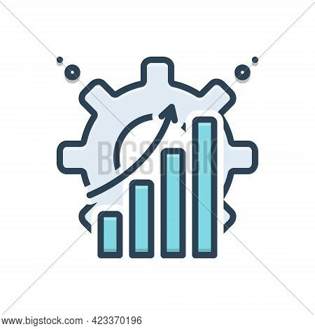 Color Illustration Icon For Efficiently Capacity Productivity Achievement Graph