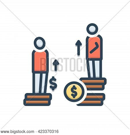 Color Illustration Icon For Disparity Difference Odds Inconformity Unconformity Imparity