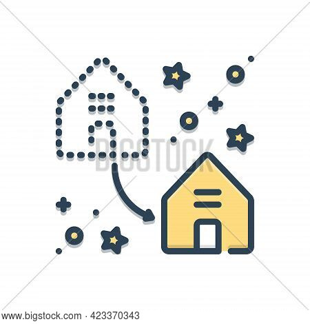Color Illustration Icon For Displacement Dislocation Home-replace Home Replace Supersede Encroach Pr