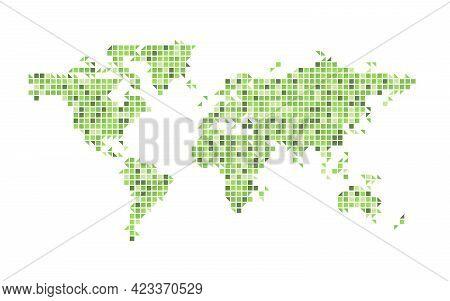 World Map Green Mosaic Of Small Squares. Vector Illustration.