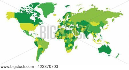Simplified Schematic Map Of World. Blank Political Map Of Countries With Generalized Borders. Simple