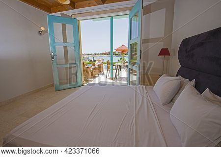 Interior Design Decor Furnishing Of Luxury Holiday Villa Show Home Bedroom Showing Furniture And Dou