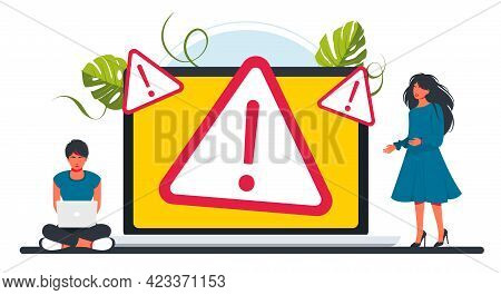 People Fix Error On Laptop. Concept Operating System Error Warning For Web Page, Banner, Presentatio