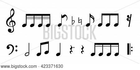 Musical Notes Icons Set Isolated. Vector Illustration Eps
