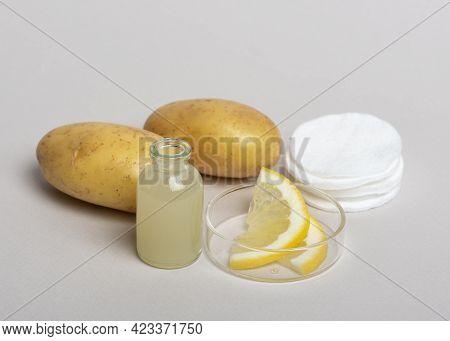 Potatoes Juice And Lemon. Homemade Skin Care Product. Diy Cosmetics.