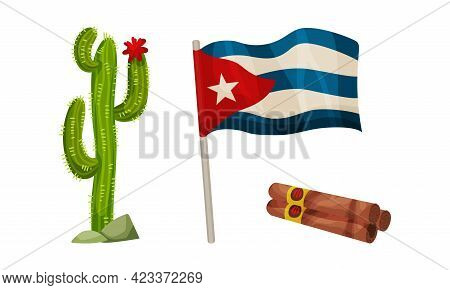 National Cuba Symbols With Prickly Cactus Plant, Cigar And Flag Waving On Pole Vector Set