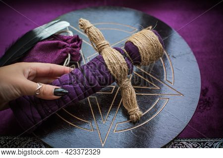 Magic Handmade Doll .witchcraft With A Doll. Concept Of Magic, Voodoo