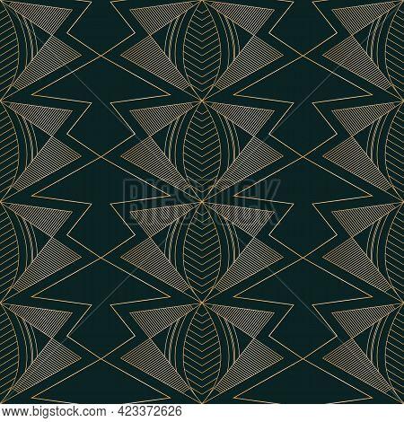 Vector Golden Moths Art Deco Dark Seamless Pattern