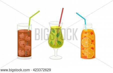 Fresh Refreshing Summer Cocktails With Ice Cubes And Sliced Fruits And Berries In Glass And Jar With