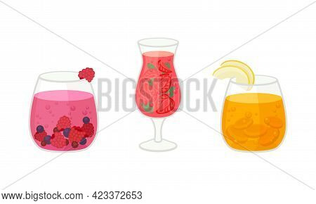 Fresh Refreshing Summer Cocktails With Ice Cubes And Sliced Fruits And Berries In Glass Vector Set