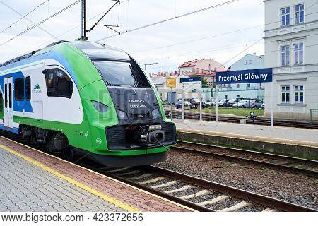 Przemysl, Poland, Oct 3, 2018: Passenger Train Of Pkp Intercity At The Main Railway Station Of Przem