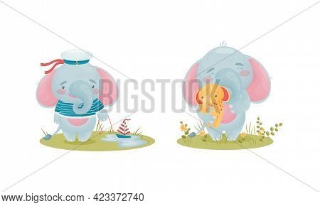 Cute Blue Elephant Character Holding Fluffy Toy And Wearing Sailor Hat Vector Set