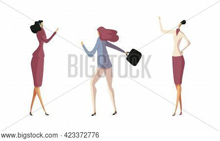 Businesswoman In Formal Suit At Work Place Carrying Briefcase And Speaking By Phone Vector Set