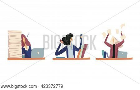 Businesswoman In Formal Suit At Work Place Sleeping And Throwing Documents Vector Set