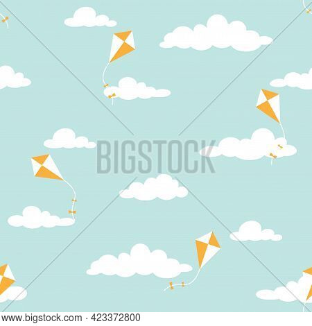 Cute Seamless Ornament With White Clouds And Kites On Powder Blue Background. Overcast Pattern. Vect
