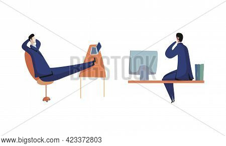 Business Executive Man Worker In Formal Suit And Tie At Work Place Speaking By Phone And Lounging On