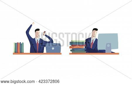 Business Executive Man Worker In Formal Suit And Tie At Work Place With Computer And Shouting At Som