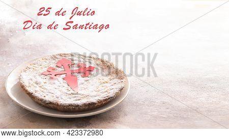 Tarta De Santiago (st. James Cake) Famous Spanish Almond Cake Typically Made In Galicia On White Bac