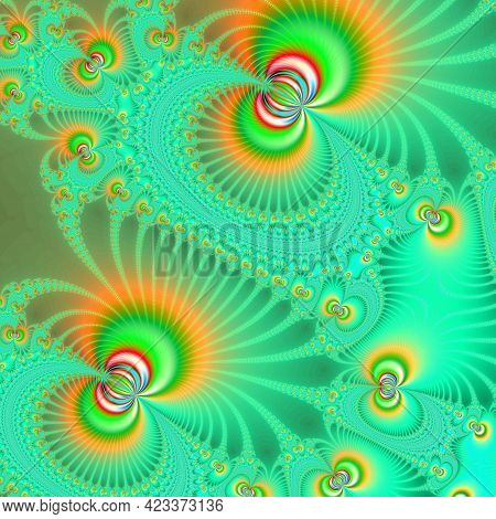 Colorful Pattern In Bright Light Green Tones Interspersed With Orange Shades. Fractal Summer Composi