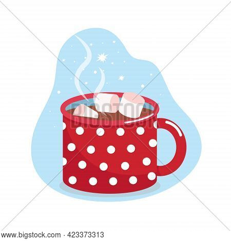Mug With Cocoa And Marshmallows, Blue Mug In White Polka Dots, Vector Flat Illustration, Isolated, C