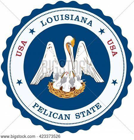 Louisiana Emblem As Vector On Isolated White Background.