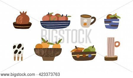 Set Of Handmade Bowls With Fruits, Plates, Pots, Cups And Mugs. Cute Pottery Of Different Sizes And