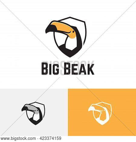 Big Beak Bill Toucan Bird Shield Wildlife Reserve Zoo Animal Logo