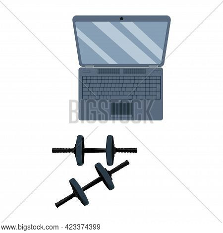 Dumbbells And Notebook Isolated On Awhite Background. Dumbbell Vector Icon.
