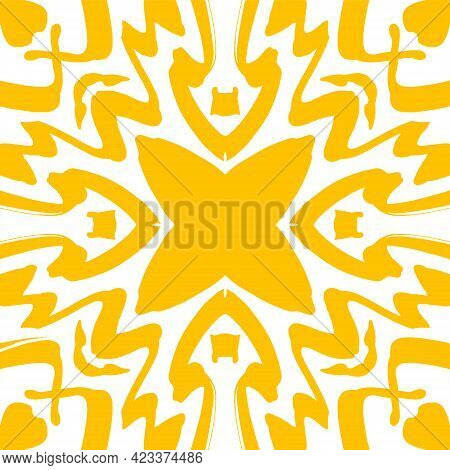 Abstract Geometric Seamless Pattern. Yellow And White Pattern