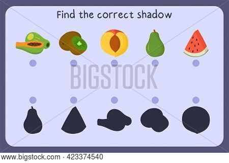 Matching Children Educational Game With Food - Papaya, Kiwi, Nectarine, Pear, Watermelon. Find The C