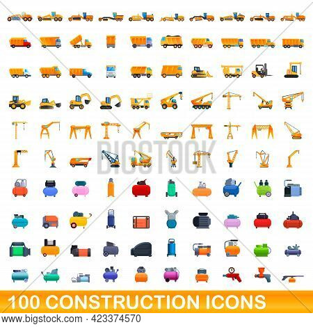 100 Construction Icons Set. Cartoon Illustration Of 100 Construction Icons Vector Set Isolated On Wh