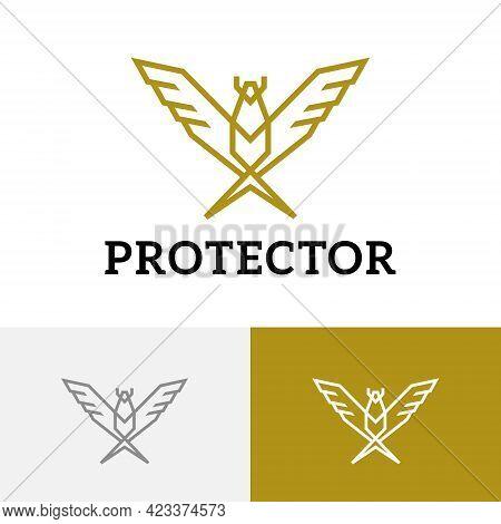 Golden Eagle Falcon Hawk Protector Bird Wings Monoline Logo
