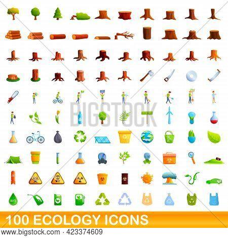 100 Ecology Icons Set. Cartoon Illustration Of 100 Ecology Icons Vector Set Isolated On White Backgr