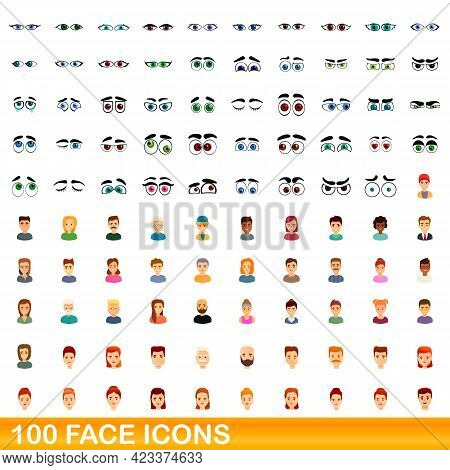 100 Face Icons Set. Cartoon Illustration Of 100 Face Icons Vector Set Isolated On White Background