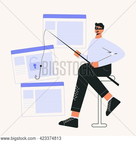 Online Scam And Hacker Fraud Concept Flat Vector Illustration. Internet Phishing Stealing Confidenti
