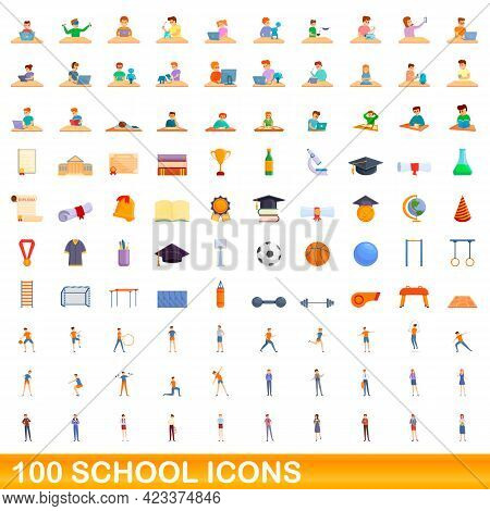 100 School Icons Set. Cartoon Illustration Of 100 School Icons Vector Set Isolated On White Backgrou