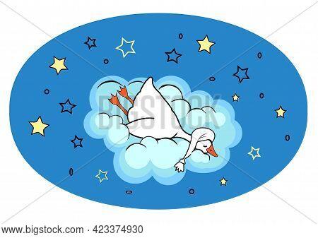 Funny Goose Sleeping In A Nightcap On Cloud In Night Sky