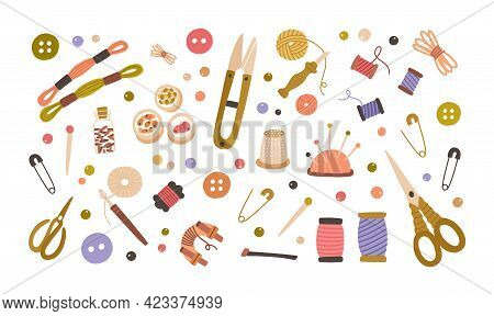 Set Of Different Tools For Needlework, Sewing, Embroidery, Knitting, Bead Craft, Crochet.tailors Sup