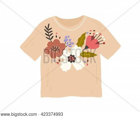 Trendy Fashion Clothes With Handmade Flower Embroidery In Retro Style. Customized T-shirt With Diy P
