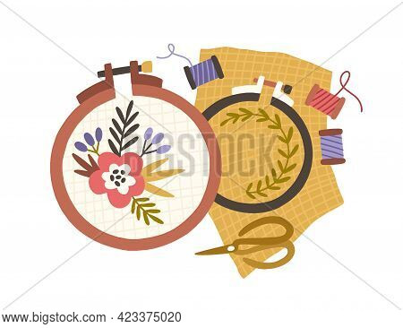 Embroidery Hoops, Spools Of Threads And Scissors. Handmade Needlework On Canvas In Frame Rings. Need