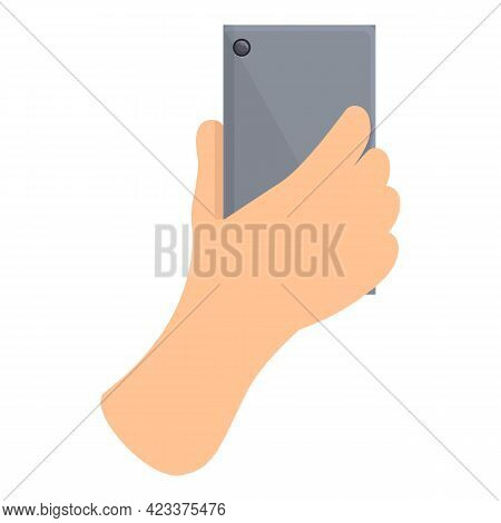 Hand Holding Phone Icon. Cartoon Of Hand Holding Phone Vector Icon For Web Design Isolated On White